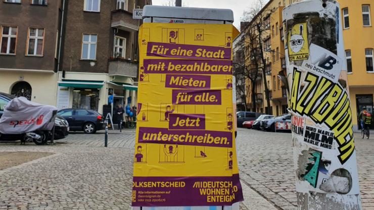 Plakat Initiative Deutsche Wohnen & Co enteignen Friedrichshain Berlin